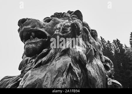 Ettal, Germany, August 6., 2019: Statue of the Bavarian lion in the gardens of Linderhof Palace, the pleasure palace of King Ludwig II of Bavaria - Stock Photo
