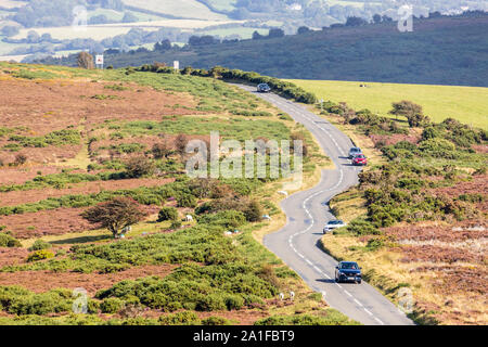 Looking down from Whitstone Post on the A39 at the top of Porlock Hill, Somerset UK - Stock Photo