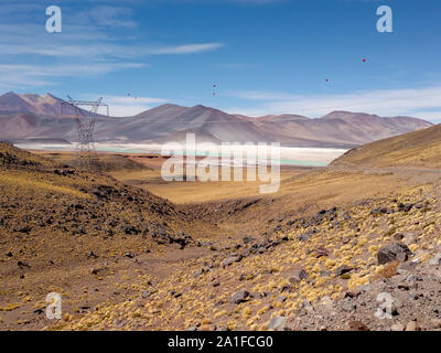 Amazing Lake Miscanti in the highlands of Chile near San Pedro de Atacama and Salar de Tara, a beautiful salty and surroundings - Stock Photo
