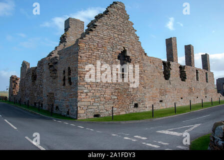 The Picturesque Ruins of Earl Robert's 16th Century Palace in Birsay West Mainland Orkney Isles Scotland United Kingdom exterior view preserved 1574 s - Stock Photo