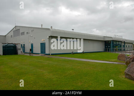 The Terminal Building Kirkwall Airport Gill of Garth Mainland Orkney Isles Scotland United Kingdom exterior view grey metal steel clad single-storey t - Stock Photo