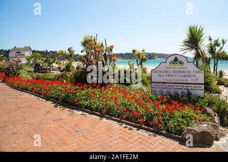The colourful Winston Churchill Memorial Gardens at St Brelades, Jersey, Channel Islands - Stock Photo