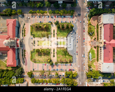 Aerial view of Tshwane city hall and Ditsong National Museum of Natural History in the heart of Pretoria, South Africa - Stock Photo