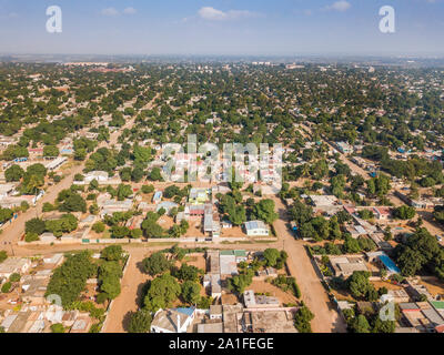 Aerial view of Matola, suburbs of Maputo, capital city of Mozambique, Africa - Stock Photo