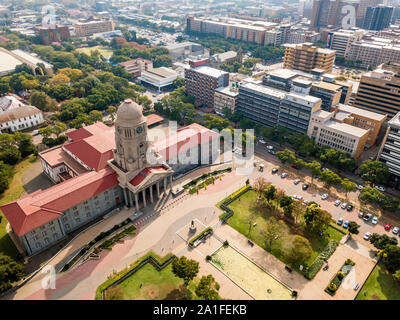 Aerial view of Tshwane city hall in the heart of Pretoria, capital city of South Africa - Stock Photo