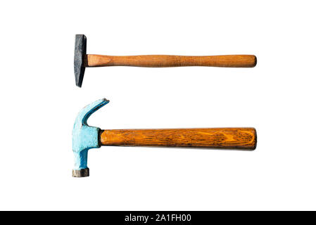 Two small metal hammers with a wooden handle, isolated on a white background with a clipping path.