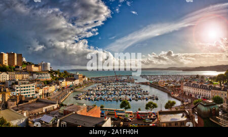 GB - DEVON: Torquay Inner Harbour with Tor Bay in background  (HDR-Image) - Stock Photo