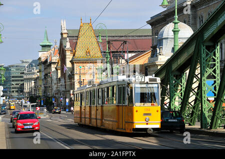 Tram in the Szabadsag hid, near the Great Central Market. Budapest, Hungary - Stock Photo