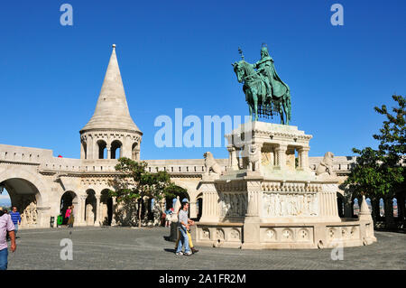 King Stephen (Istvan) the first king of Hungary (11th century). Varhegy, Castle hill. Budapest, Hungary - Stock Photo
