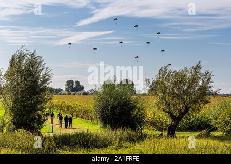 Oosterbeek, Netherlands, September 22, 2019: British paratroopers landing near river Rhine meemorial Market Garden Operation near Arnhem Netherlands - Stock Photo