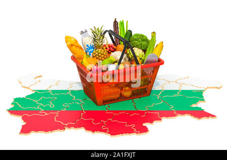 Market basket or purchasing power in Bulgaria concept. Shopping basket with Bulgarian map, 3D rendering isolated on white background - Stock Photo