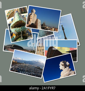 Cards with different images of the city of Barcelona: Colon, Gaudi, Port, Europe Olympic square ... Spain - Stock Photo
