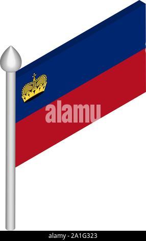 Isometric Illustration of Flagpole with Liechtenstein Flag - Stock Photo