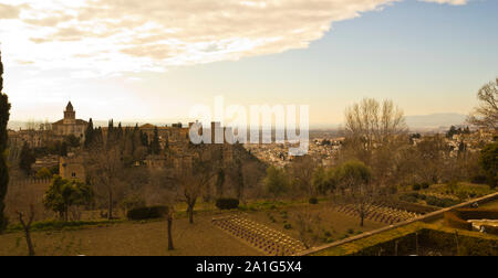 View of the city of Granada, with the Alhambra on the left. Picture taken from the Generalife. Andalucia, Spain - Stock Photo