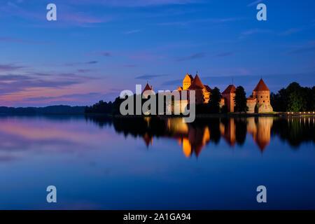 Trakai Island Castle in lake Galve, Lithuania - Stock Photo