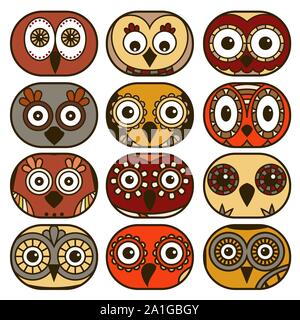 Set of twelve funny owl faces placed in oval forms and isolated on the white background, cartoon vector illustration as icons - Stock Photo