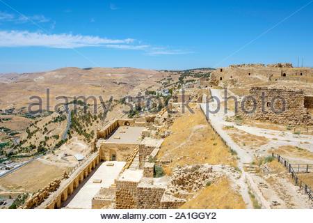 Jordan, Karak Governorate, Al-Karak. Kerak Castle, 12th century Crusader castle, one of the largest crusader castles in the Levant. - Stock Photo