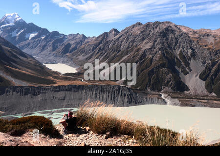 Muller hut track in New Zealand, South Island, Mount Cook area, view to Mueller lake and Hooker Lake