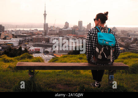 Auckland, New Zealand, Skytiwer view from Mount Eden - Stock Photo