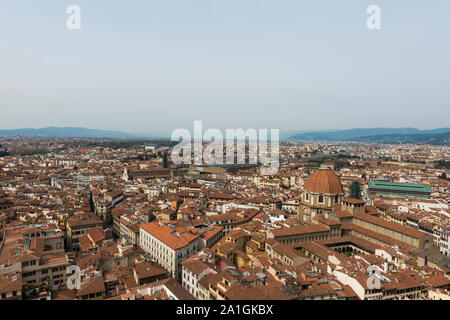 FLORENCE, ITALY - 25, MARCH, 2016: Panoramic picture of amazing city view from Giotto Bell Tower, landmark of Florence, Italy - Stock Photo