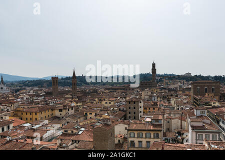 FLORENCE, ITALY - 25, MARCH, 2016: Horizontal picture of amazing city view from Giotto Bell Tower, landmark of Florence, Italy - Stock Photo