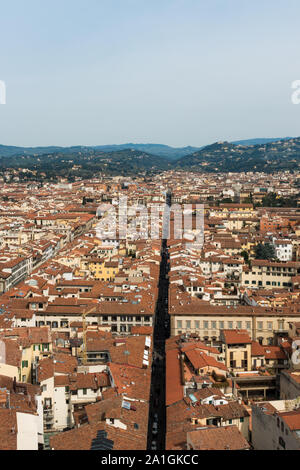 FLORENCE, ITALY - 25, MARCH, 2016: Vertical picture of amazing city view from Giotto Bell Tower, landmark of Florence, Italy - Stock Photo