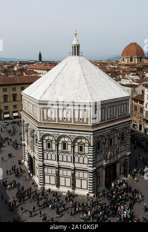 FLORENCE, ITALY - 25, MARCH, 2016: Vertical picture of The Baptistery of St. John from Giotto Bell Tower, landmark of Florence, Italy - Stock Photo