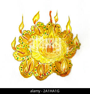 Indian festival of lights, Diwali traditional candles greeting card in watercolors. - Stock Photo