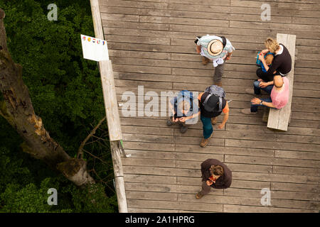 Aerial view of people walking on tree crown trail in National Park Hainich in Thuringia, Germany - Stock Photo
