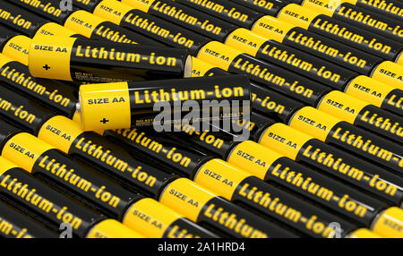 Rows of generic AA batteries with the label 'Lithium Ion' - 3D Rendering - Stock Photo