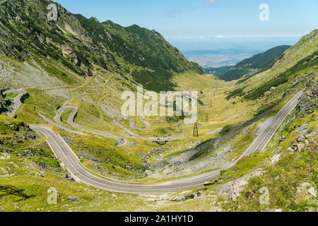 Top summer view on a famous Transfagarasan Road in Romanian Carpathian Moutains, Romania - Stock Photo