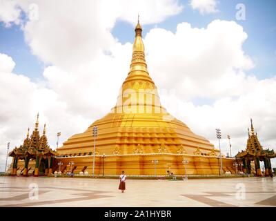 Uppatasanti Pagoda in Naypyidaw, the capital of Myanmar. It is a copy of Shwedagon Pagoda (the biggest) which is located in Yangon, Burma - Stock Photo