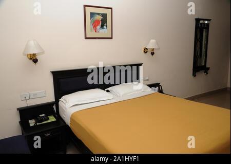 Munnar; Kerala; India; Southeast Asia - Nov. 2017 : Beautiful Bed room of hotel bell mount munnar kerala india - Stock Photo