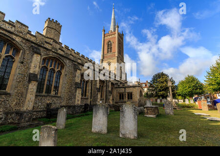 st michaels church in the market town centre of Bishops Stortford, on the River Stort, high street shops and buildings Hertfordshire, england, uk gb - Stock Photo