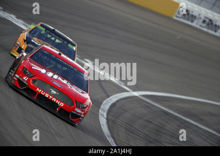 Las Vegas, Nevada, USA. 16th Sep, 2019. Daniel Suarez (41) races down the front stretch during the South Point 400 at Las Vegas Motor Speedway in Las Vegas, Nevada. (Credit Image: © Stephen A. Arce/ASP) - Stock Photo