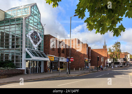 market town centre of Bishops Stortford, on the River Stort, high street shops and buildings Hertfordshire, england, uk gb - Stock Photo