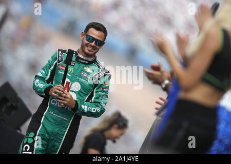Las Vegas, Nevada, USA. 15th Sep, 2019. Kyle Larson (42) gets ready for the South Point 400 at Las Vegas Motor Speedway in Las Vegas, Nevada. (Credit Image: © Stephen A. Arce/ASP) - Stock Photo