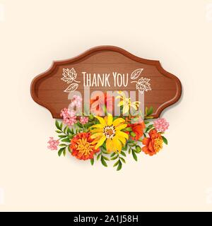 Floral 'Thank you' card with different flowers and a wooden signboard. Thanksgiving card with a bouquet of autumn flowers - Stock Photo