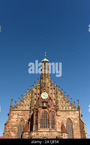 The Our Lady's church (Frauenkirche) at the Nürnberg Hauptmarkt (central square) in Nuremberg, Germany. - Stock Photo