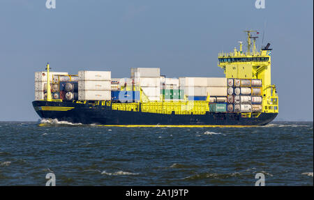 Cuxhaven, GERMANY - June 14, 2014: Typ 160 Open-Top-Container-Feedership . Build by Sietas-Werft in Hamburg, Germany. - Stock Photo