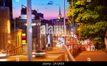 View to Night Tallinn in late evening in summer - Stock Photo