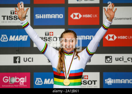 Harrogate, UK. 27th September 2019. Megan Jastrab  of the USA takes Gold in the 2019 UCI Road World Championships Womens Junior Road Race. September 27, 2019 Credit Dan-Cooke/Alamy Live News - Stock Photo