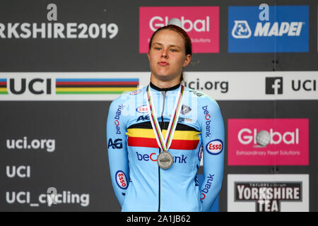 Harrogate, UK. 27th September 2019. 2019 UCI Road World Championships Womens Junior Road Race. September 27, 2019 Credit Dan-Cooke/Alamy Live News - Stock Photo