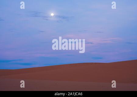 The Red Desert in Vietnam at dawn. Looks like cold desert on Mars. - Stock Photo