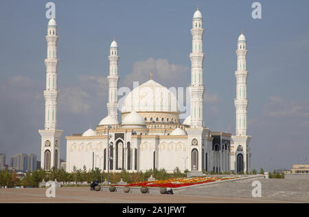 the hazret sultan mosque in independence square astana or nul sultan kazakhstan - Stock Photo