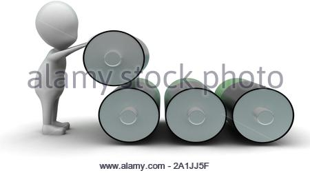 3d man with green and balck battery cells concept on white background, side angle view - Stock Photo