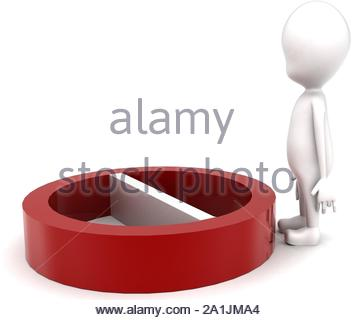 3d man with red no entry or stop symbol concept on white background - 3d rendering , side angle view - Stock Photo