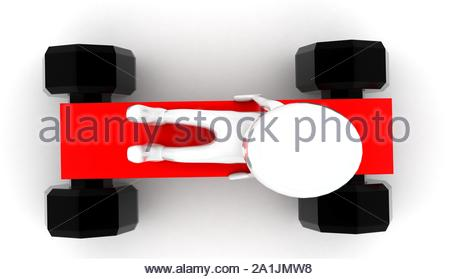 3d man sitting on toy car with no roof concept on white background - 3d rendering , top angle view - Stock Photo
