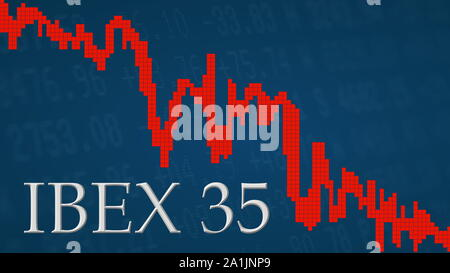 The Spanish stock market index IBEX 35 is falling. The red graph next to the silver IBEX 35 title on a blue background is showing downwards and... - Stock Photo