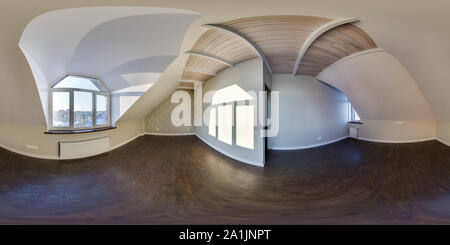 Empty room without furniture. full seamless spherical hdri panorama 360 degrees in interior of white loft room in equirectangular projection. ready fo - Stock Photo